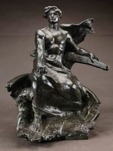 Georges Colin (1876 -1917) - a very large impressive and decorative bronze sculpture of a steersman - France - ca. 1910