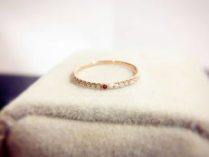 18Kt Pink Gold-14 diamonds Tiny Ruby ring #52.5
