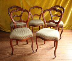 A set of three and a pair of mahogany chairs with green upholstery, Netherlands, circa 1870