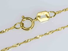 18k Gold Necklace. Singapore Chain - 50 cm