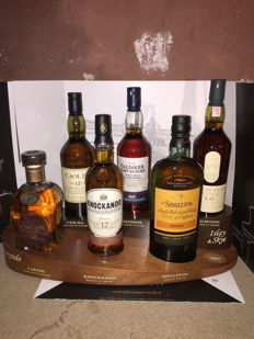 6 bottles - with presentation set -  Cardhu 12 - Caol Ila 12 - Knockando 12 - Talisker Port Ruigh - Lagavulin 16 - Singleton Sunray