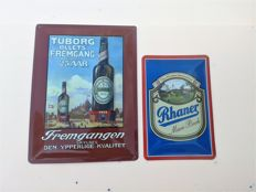 "Set: ""Goat on Tuborg - Advertising, brewery logo. Deeply pressed sheet metal+gratis:GUINNESS - around 1970"