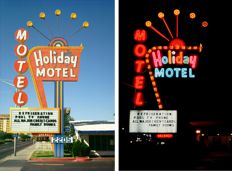 Toon Michiels (1950-2015) - Holiday Motel, Las Vegas, Nevada, 1979, Day & Night, diptych