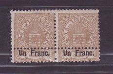 Luxembourg 1875 - Armoiries pair MH with double perforation at lower margin - One Franc - Prifix 36 error and variety