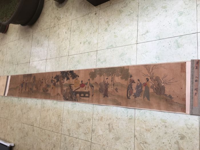 Ancient figure scroll, print reproduction of old painting - China - second half 20th century