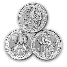 Great Britain - lot of 3 x 5 Pounds - 2016/2017 - the Queens Beasts/The Griffin/The Dragon of Wales - 3 x 2 oz silver