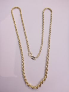 14 kt gold rope link necklace – 