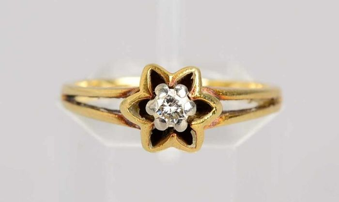 Ring with solitaire brilliant – 585 yellow gold – size: 54
