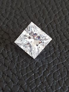 Diamond - 1,01 ct - D Colour VVS2 - Princess - EXC/EXC