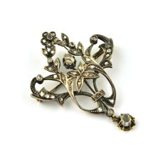 "Antique Rose cut Diamonds (tot. 1.00ct) Floral-pattern 18k Gold with silver fastenings ""belle epoque"" Brooch/Pendant  - Size : 40mm x 52mm"