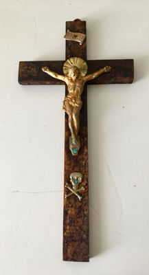 Beautiful gilded bronze and copper crucifix - circa 1870 - Piedmontese School