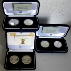 Italy, 5 and 10 euro coins,2004/2005 (six different coins), in three cassettes, silver