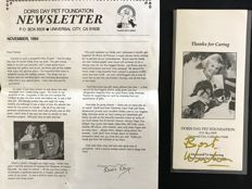 Doris Day -  autograph with dedication on black and white photography and foundation book - 1994