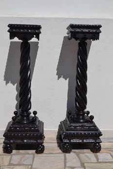 Large pair of columns - wood France 19th century