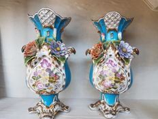 A pair of porcelain vases in Jacob Petit style - France - late 20th century