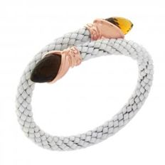 "Chimento - ""Stretch"" bracelet, white ceramic with citrine - Wrist size 18 - 20 cm."