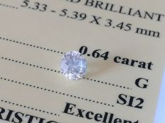 Diamond – 0.64 ct - G/SI2 EXC/EXC/EXC ** No Reserve **