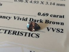 Diamond – 0.69 ct - Vivid Dark Brown VVS2 - VG/VG ** No Reserve **