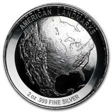 USA - 2 oz Mount Rushmore - Ultra High Relief - with 3D effect - 999 AG silver coin silver - American Landmarks