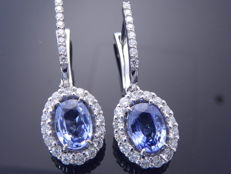 Earrings with  2 exclusieve Sri Lanka sapphire 2.14 ct and  48 brilliant cut diamonds totaal 0.60 ct. -
