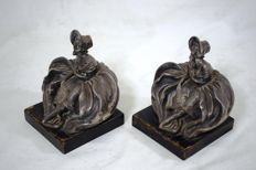 Pair of art nouveau silver sculptures - Italy - first half of the 20th century