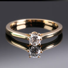 14 kt solitaire yellow gold ring with diamonds 0.21 ct - ring size 55