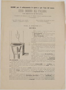 Cesso inodoro all'italiana -1880 1886  - Patent of Ing. D. Muratori & c.