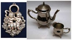 Unusual continental antimony frame and a nice old set of continental silver plated teapot and creamer