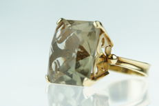 14 kt gold ring set with citrine, sturdy edition, ring size 16.5/16.75