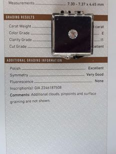 Brilliant cut diamond, 1.50 ct, E, I1. Excellent polish!