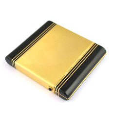 "CARTIER - ""New York, Paris London"" 18K Solid Gold Cigarette Case with Black Enamel and Cabochon Sapphire buttons - 7.5 x 6.8 x 1.1cm"