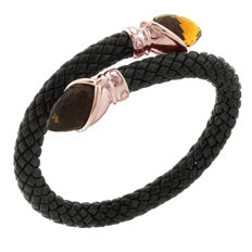 "Chimento - ""Stretch"" armband zwart ceramic met Citrien - polsmaat 18 - 20 cm"