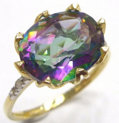 Yellow gold ring set with 4.60 ct natural Mystic Topaz and Diamonds -* NO RESERVE PRICE*-