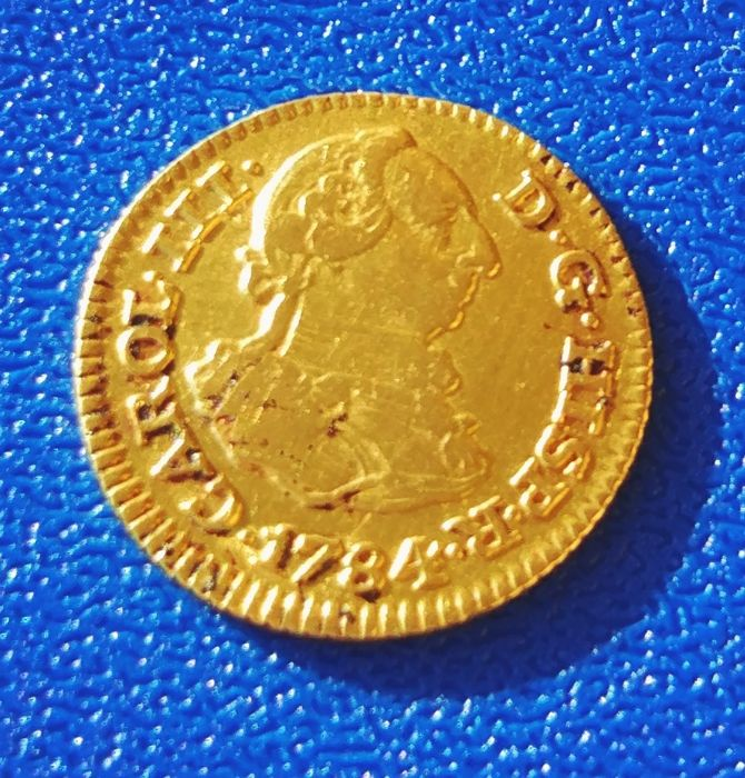 Spain 1/2 Escudo gold 1784 Carlos III Madrid JD