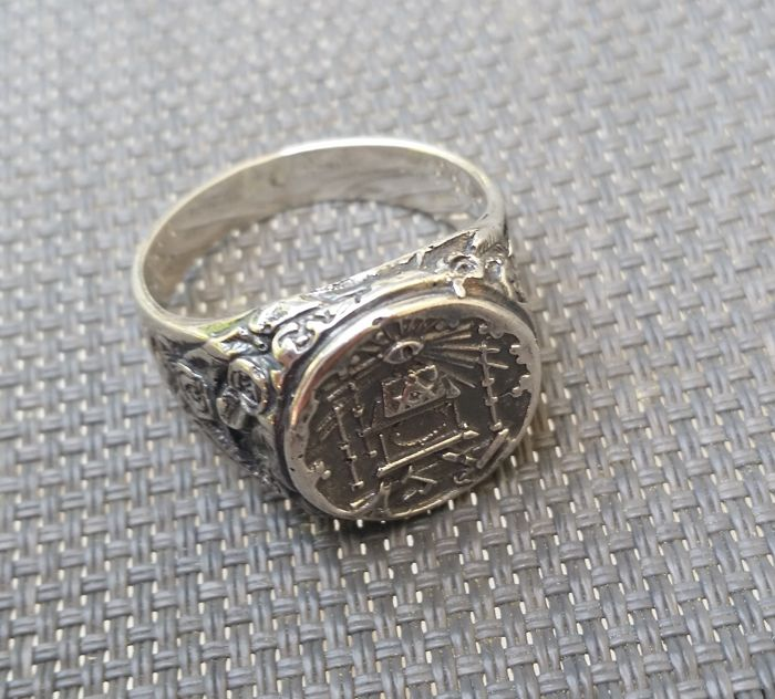 Silver Masonic Ring. 925 Silver.