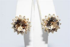 "5.25 ct gold flower earring with morganite & diamonds ""No reserve price"""