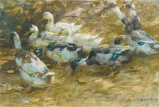 Alexander Koester (1864 - 1932)  - Enten im Gras (Ducks in the gras)