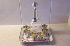Silver/crystal liquor set with Limoges porcelain, France, 2nd half of 19th century, 1870-1890