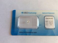 Pear cut diamond, 0.16 ct. E, VS2 with HRD certificate.