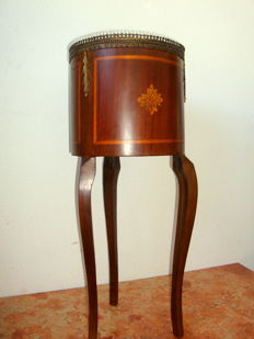 Mahogany Drum Style Table with Marquetry and Gilt Bronze, ca. 1900's