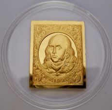 24 carat goldplated silver bar of Benjamin Franklin - USA 1847 - Very Rare