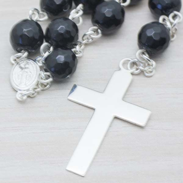925/1000 Sterling Silver, Faceted Onyx Rosary - Length: 80 cm