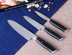3-pc Damascus kitchen knife set in Micarta handle