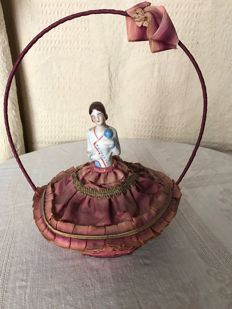 Taffeta Jewellery Box with a porcelain doll on top