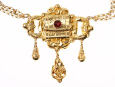 Gold necklace from the Victorian period with an enameled closure - anno 1840