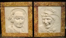 Kasper Hendrik Roskam (1818-1894) - a pair of historically interesting marble reliefs made on the occasion of his wedding - Netherlands - 1852