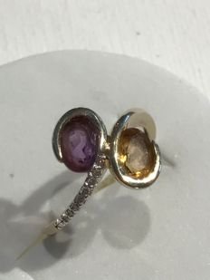 14 kt yellow gold ring set with 10 diamonds and citrine and amethyst; Ring size: 53 / 13