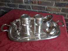 Serving Tray, silver metal decoration