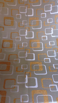 Unknown designer - ml 10.80 damasked fabric with space age golden threads