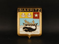 Biarritz Badge - Vintage Brass and Enamel Biarritz France Car Auto Badge  - 80 x 60 mm